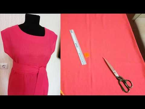 Платье-туника с коротким рукавом без выкройки.Шьем платье с асимметричным вырезом.