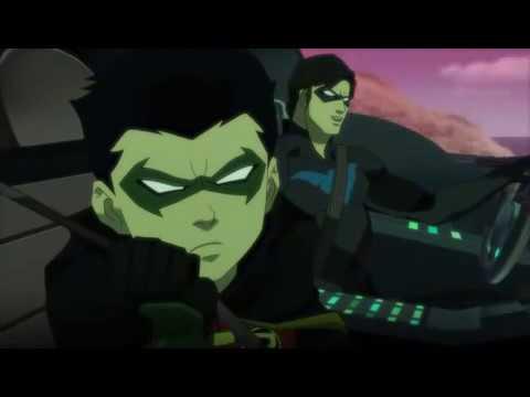 Найтвинг и Робин едут на базу Юных титанов (Лига справедливости против Юных титанов 2016)