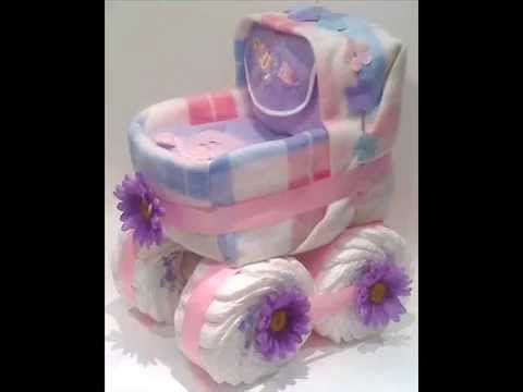 Diaper cakes for baby boy or baby girl, gift for a new baby or centerpiece for Baby Shower