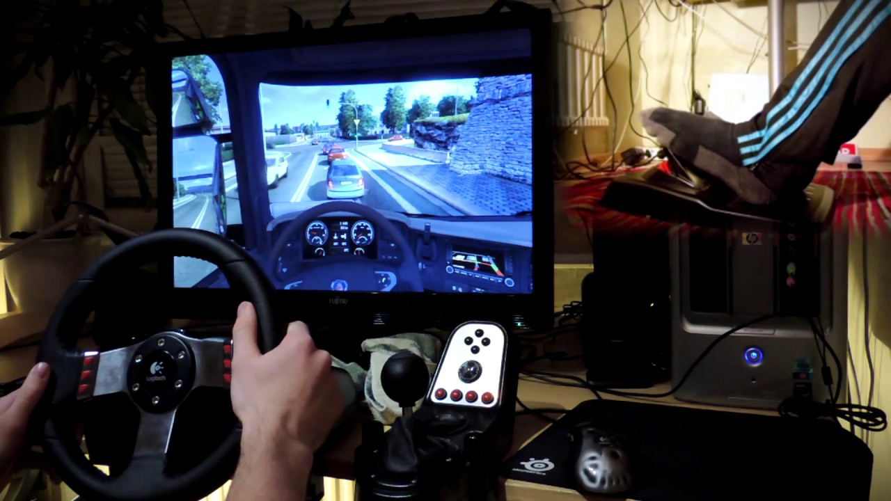 Euro Truck Simulator 2 with G27 steering wheel and feet ...