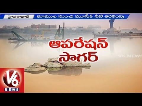 Hussain Sagar Cleansing | Water Level Decreases In Lake - Hyderabad (23-04-2015) video