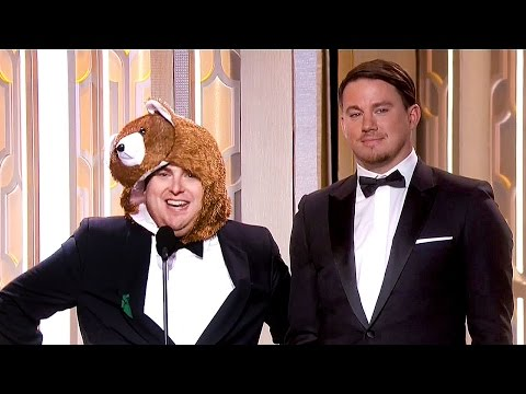 Jonah Hill Presents as 'The Revenant' BEAR with Channing Tatum at Golden Globes 2016