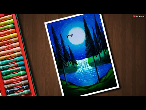 Moonlight Waterfall Scenery for beginners with Oil Pastels - step by step