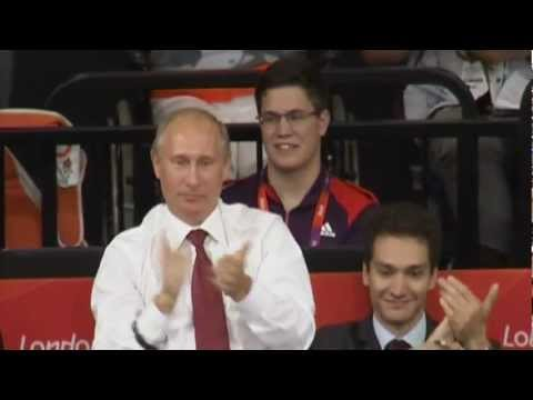 Black Belt Russian President Vladimir Putin, Prince Philip, Duke of Edinburgh watch Olympic Judo