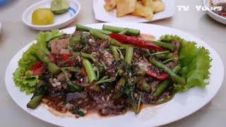 Asian Street Food, Fried Beef With Salad and Steak