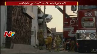 Car Hits Divider and Rammed Into 2nd Floor of Building || California
