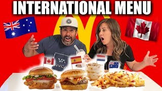 McDonald's International Food Menu Taste Test | American's try McDonald's New Food NOT FROM AMERICA