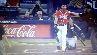 Dan Uggla gets hit and is pissed