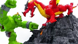 Power Rangers & Marvel Avengers Toys Pretend Play | GIANT MONSTER vs DRAGON