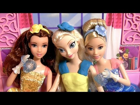 Play Doh Royal Tea Party Princess Cinderella & Belle Elsa Disney Frozen - Muñecas Fiesta Té Real