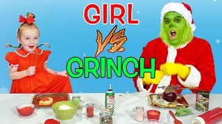 Girl vs Grinch Challenge! Will She Save Christmas? The Grinch in Real Life! All Challenges!