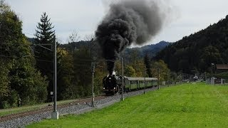 Steam locomotive 141.R.1244 Mikado at Bauma, Switzerland (amazing scene)