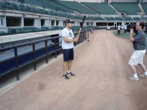 Josh Womack does a few other bat tricks before a Long Beach Armada game