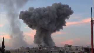 Syria, Homs - Fighter Jet Carpet Bombs The City