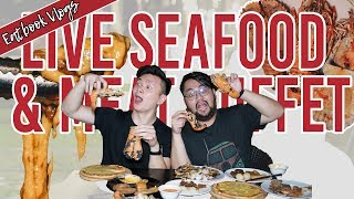 $38+ LIVE SEAFOOD BBQ BUFFET W/ FREE-FLOW CHEESE | Eatbook Vlogs | Ep 54