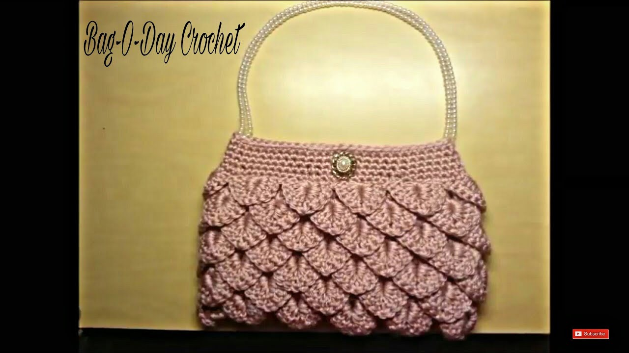 Crochet Bags Video : Crochet crocodile stitch clutch purse tutorial Handbag - YouTube