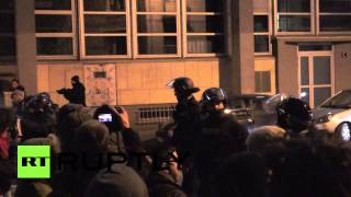 Police use batons in brutal clashes with Rennes protesters, France Image
