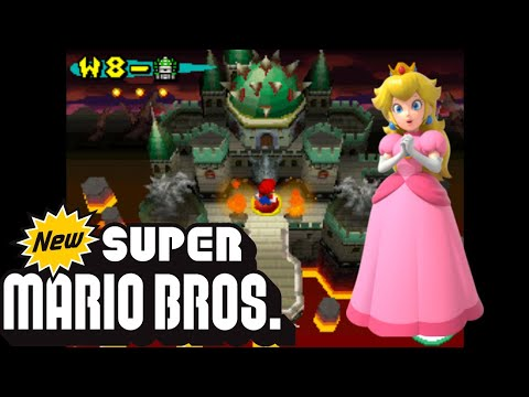 New Super Mario Bros DS Playthrough World 8-Bowser's Castle