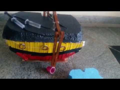 Ship with RF controlled light and sound and hydraulic crane - Science Projects