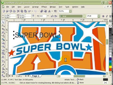 Cleaning Super Bowl logo in CorelDraw