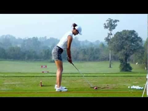 [HD] Michelle Wie on driving range at 2013 Honda LPGA Thailand (R2)
