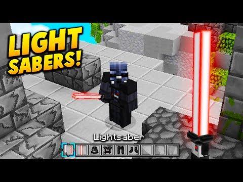 LIGHT SABER TEXTURE CHALLENGE! - Minecraft SKYWARS CHALLENGE (STAR WARS TEXTURE PACK!)