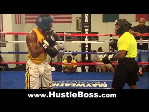 Lydell Rhodes (14-0, 7 KO's) sparring prospect Ronnie Austion at the Mayweather Boxing Club Image 1