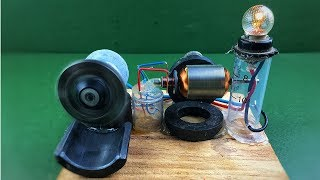 How to make mini diy electricity free energy generator with dc motors - Experiment science project