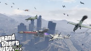 GTA 5 X-Wing Epic Battle VS Angry Planes MOD