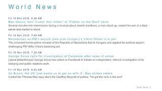 World News Headlines for 16 Nov 2018 - 1 PM Edition
