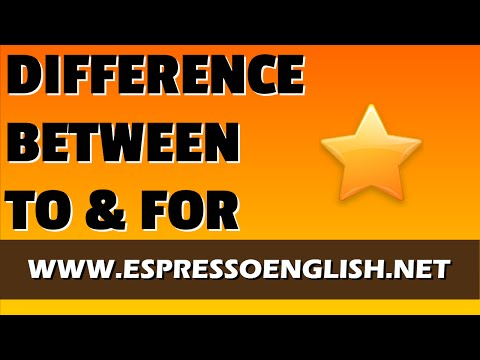 Prepositions in English: Difference between TO and FOR