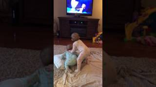 Twins acting out scene from Frozen