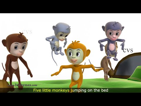 Five Little Monkeys Jumping on the Bed Nursery Rhyme - 3D Animation...