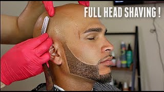 SHAVING A BALD HEAD W/ BEARD LINEUP Straight Razor Tutorial HD!