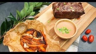 Двойной антрекот с запечённой морковью и масляный соус с портвейном | Кухня по заявкам