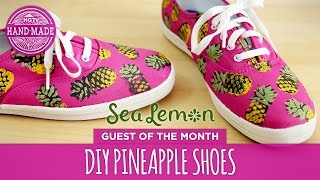 DIY Pineapple Shoes by Sea Lemon - White Shoes Challenge Week - HGTV Handmade