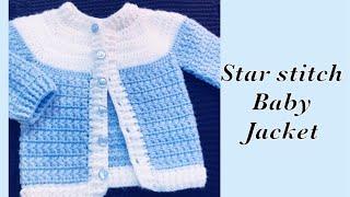 Baby Boy Set: How to crochet newborn star stitch sweater jacket -cardigan 0-6M Crochet for Baby #177