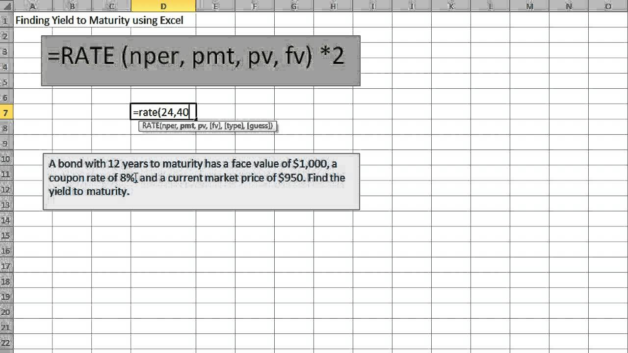 Finding Yield to Maturity using Excel - YouTube