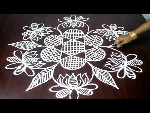 Beginners Rangoli Design With 5 x 3 ||  Easy Beginners Kolam Design || Fashion World