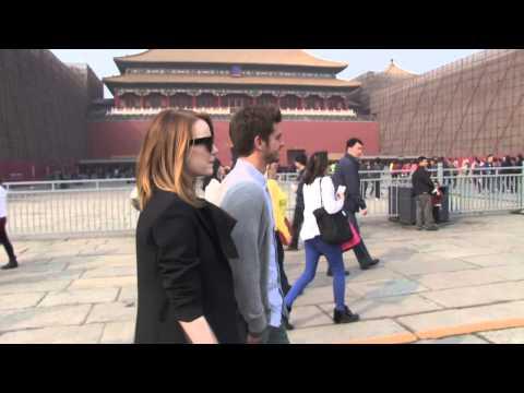 Andrew Garfield & Emma Stone Visit Forbidden City in China on Bikes