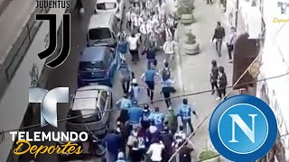 Hinchas de Napoli y Juventus coinciden en la calle y ocurre algo inesperado | Más Fútbol | Telemundo