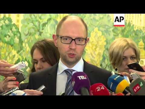Prime Minister Arseniy Yatsenyuk accuses Russia of orchestrating the unrest