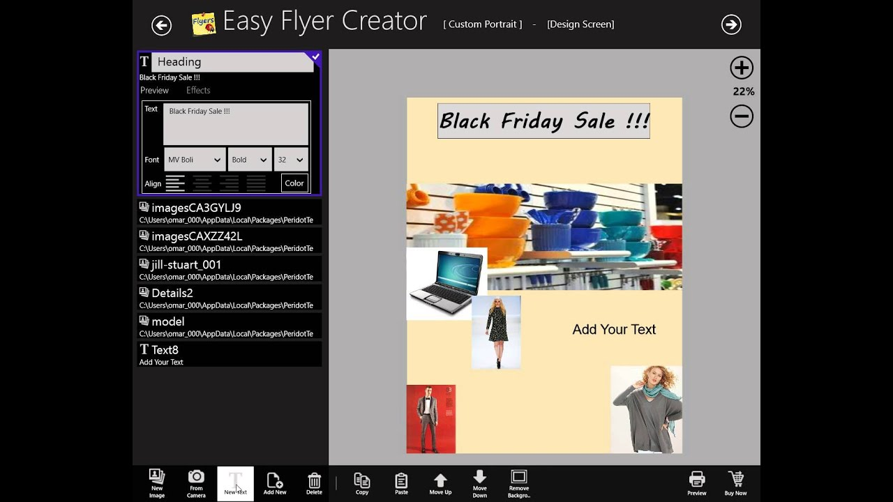 Make a business flyer with easy flyer creator 4 0 on for Window load event