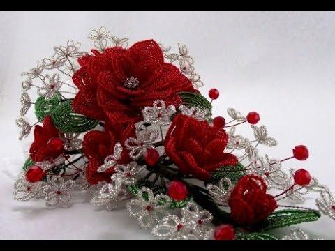 PART 1 of 2 Как сделать розу из бисера / How to make a rose out of beads.  Бисероплетение Как плести ажурную розу из...
