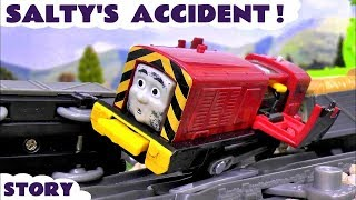 Thomas and Friends Train Accident with Salty and rescue by Play Doh Diggin Rigs toys