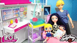 Miraculous LOL Family Surprise have 2nd Baby Marinette & Adrien Agreste Barbie Ambulance