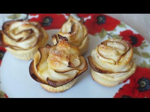 Розочки  с яблоками из дрожжевого теста в духовке розы из теста с яблоками