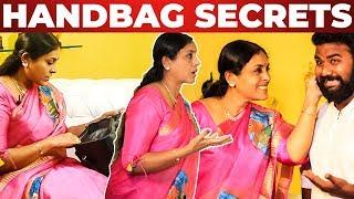 Saranya Ponvannan HANDBAG Secrets Revealed by VJ Ashiq   What's inisde the Handbag