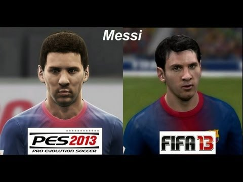 PES 2013 vs FIFA 13 FACE Comparison Barcelona FC (Messi) Faces