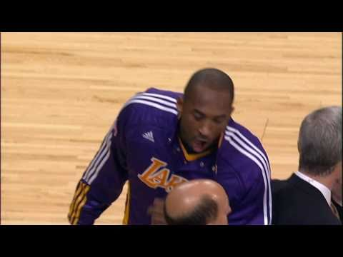 Check out Kobe Bryant showing his comedic side as he pretends to buff the top of Jeff Van Gundy's head during pre-game warmups. Visit http://www.nba.com/vide...